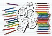 Pencils and brainstorm flowchart on lined paper