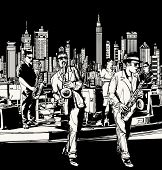 Vector illustration of ta jazz band playing in New York - saxophone singer and keyboard