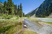 River on mountain road. Tien Shan, Kyrgyzstan