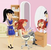 Service girl in a beauty salon at the hairdresser