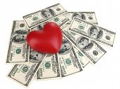 Love and money concept. Heart and American currency isolated on white