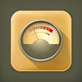 Audio indicator, long shadow vector icon