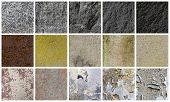 Collection Of Different Stone And Wall Backgrounds, Isolated On White