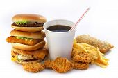 Fast Food Group With A Drink And A Burger