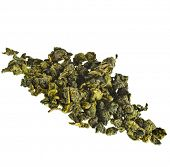 oolong tea heap pile close up isolated over white background
