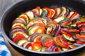 picture of aubergines  - Delicious freshly cooked ratatouille in a pan - JPG