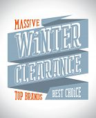Massive winter clearance design in retro style on a ribbon.