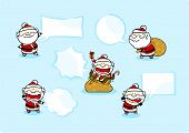 Set of images of a speaking Santa Claus