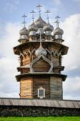 Antique wooden Church of Transfiguration at Kizhi island in Russia under reconstruction