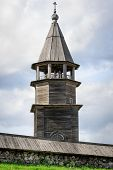 Wooden bell tower of Church of Transfiguration at Kizhi island in Russia