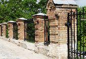 Brick and metal fence in Kiev Pechersk Lavra Monastery in Kiev Ukraine