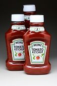 IRVINE, CA - January 11, 2013: Three 44 ounce bottles of Heinz Tomato Ketchup. Heinz is the most popular Ketchup, selling over 650 million bottles in the year 2012.