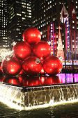 New York landmark Radio City Music Hall in Rockefeller Center decorated with Christmas decorations