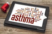 asthma word cloud on a digital tablet screen with an inhaler