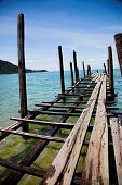 Simple traditional wooden pier, Vietnam