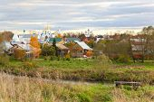 Russian rural landscape with domes