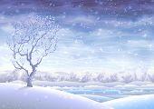 Cuento de hadas paisaje invierno cubierto de nieve