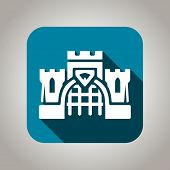 Blue flat castle icon for web and mobile applications