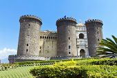 stock photo of turret arch  - The medieval castle of Maschio Angioino or Castel Nuovo  - JPG