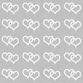 White Interwoven Hearts And Gray Thin Stripes Horizontal Textured Fabric Background