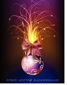 Abstract neon background with Christmas tree ball