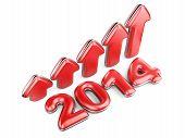 3D Arrow With Year 2014 Growth Upward