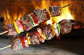 picture of kebab  - BBQ with kebab cooking - JPG