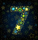 Number 7 cartoon star colored