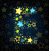 Letter E cartoon star colored