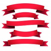 Illustration set of red ribbons isolated on white. Vector.