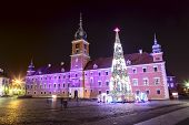 Royal Palace Decorated For Christmas In Warsaw