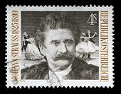 AUSTRIA - CIRCA 1975: A postage stamp printed by Austria shows image portrait of famous Austrian mus