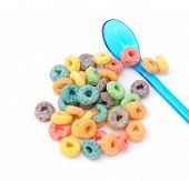 Colorful Cereal And Plastic Spoon