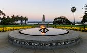 picture of memorial  - Ultra wide angle view of the War Memorial and Eternal Flame in Kings Park Perth Australia at sunset - JPG