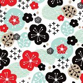 Seamless Japanese cherry blossom asian illustration background pattern in vector