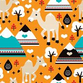 Seamless camel and mountains kids illustration background pattern in vector