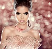 Glamour Fashion Woman Portrait With Luxury Jewelry. Hairstyle. Vogue Style. Makeup