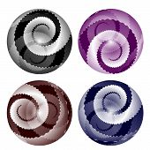 Four Abstract Ball With Jagged Spirals