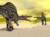 Spinosaurus dinosaur fighting - 3D render