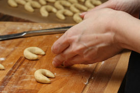 picture of doughy  - making some vanilla cornets and knead the doughy - JPG