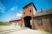 foto of auschwitz  - Main entrance to Auschwitz Birkenau Concentration Camp - JPG