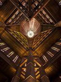 Inside view of Saint Josephs church bell tower at Le Havre, France