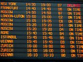 Flights Information Board In An International  Airport Terminal