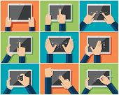 Set of flat hand  icons showing commonly used multi-touch gestures for  touchscreen tablets or smart