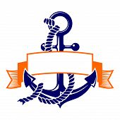 anchor with a banner symbol. vector illustration