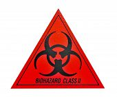 foto of biohazard symbol  - Biohazard class ii symbol sign of biological threat alert black red triangle signage text isolated on white wall
