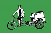stock photo of rickshaw  - vector illustration of pedicab and male driver - JPG