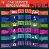 Car service, auto repair Infographics. Vector illustration