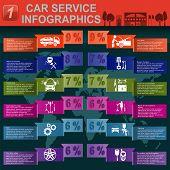 Car service, auto repair Infographics. Vector illustration