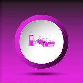 Car fueling. Plastic button. Vector illustration.
